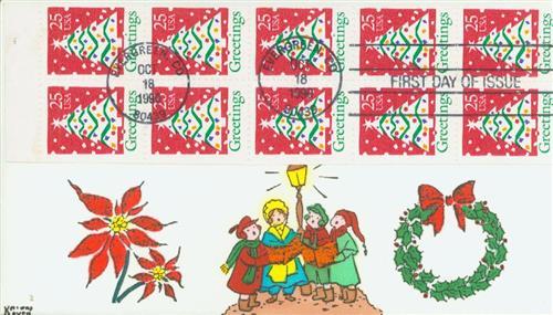 1990 25c Christmas Tree,bklt pane of 10