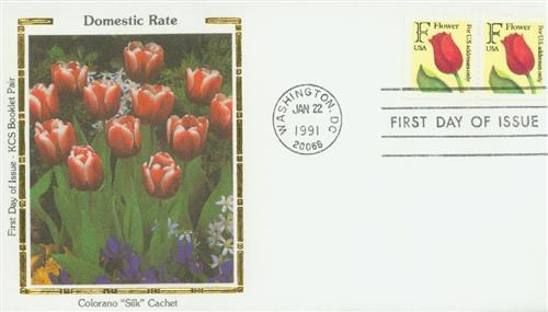 1991 29c F-rate Flower, KCS booklet single