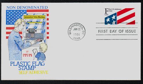 1991 29c 'F' Plastic Flag Stamp,pane(12)