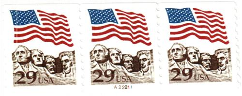 1991 29c Flag over Mount Rushmore, gravure version