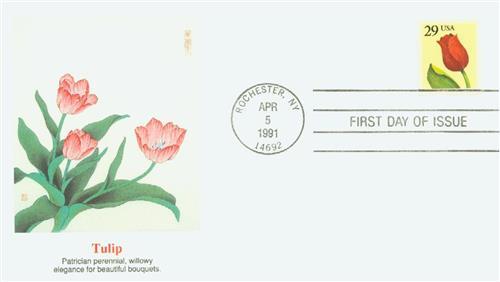 1991 29c Flower, booklet single