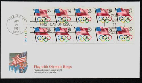 1991 29c Flag w/Olympic Rings,bklt pn 10