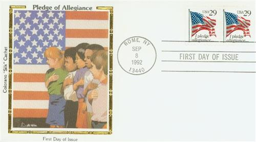 1992 Pledge Silk Cachet First Day Cover