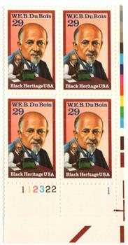 1992 W E DUBOIS ~ BLACK HERITAGE ~ ACTIVIST #2617 Plate Block of 4 x 29 cents US Postage Stamps B