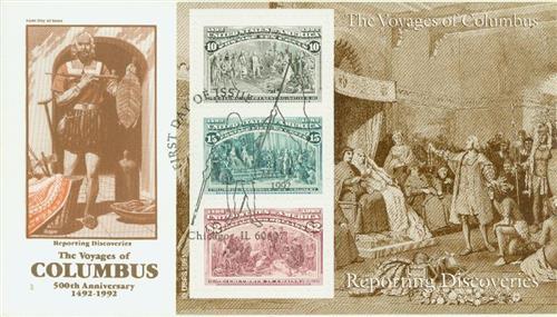1992 10c, 15c, $2 Colombian, souvenir sheet