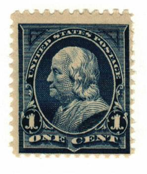 1895 1c Franklin, blue, double line watermark