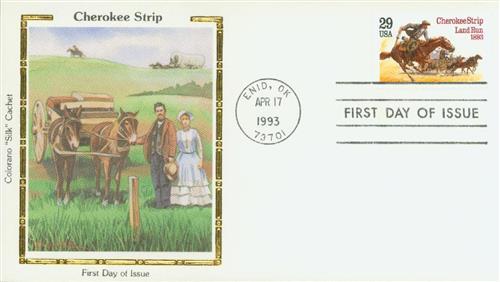 1993 Cherokee Strip Silk Cachet First Day Cover