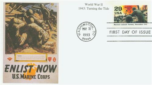 U.S. #2765j FDC – Tarawa First Day Cover with marines recruiting poster cachet.