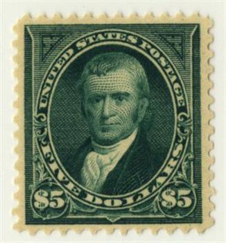1895 $5 John Marshall, dark green, double-line watermark