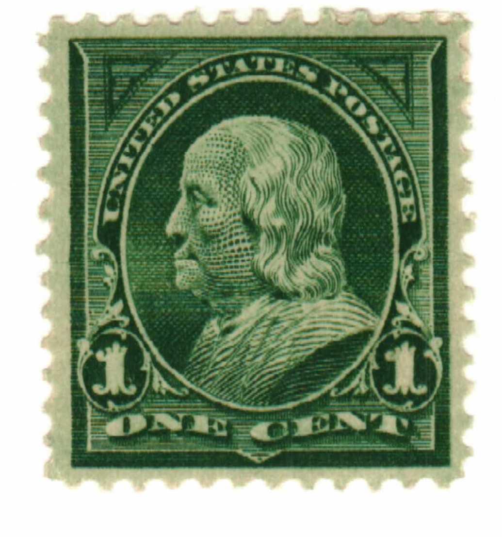 1898 1c Franklin, deep green, double line watermark