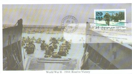 1994 29c WWII, Allies in Normandy, D-Day