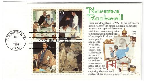 1994 50c Norman Rockwell, souvenir sheet