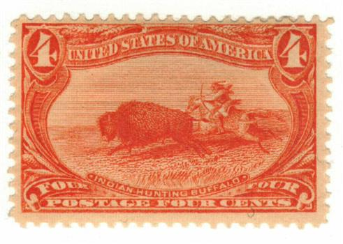 1898 4c Trans-Mississippi Exposition: Indian Hunting Buffalo