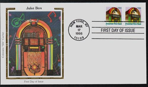 U.S. #2911 FDC – 1995 Jukebox Silk Cachet First Day Cover.