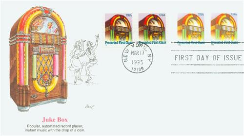 U.S. #2911-12 – 1995 Jukebox First Day Cover.