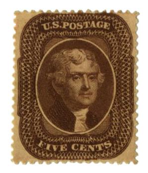 1860 5c Jefferson, brown, T2