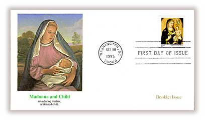 1995 32c Traditional Christmas: Madonna and Child, booklet stamp