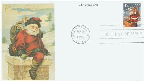 1995 32c Contemporary Christmas: Santa and Chimney