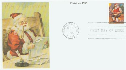 1995 32c Contemporary Christmas: Santa Building a Sled