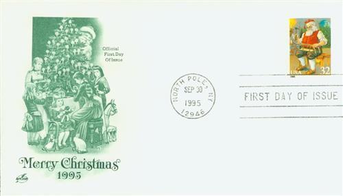 1995 32c Contemporary Christmas: Santa Building a Sled, booklet single