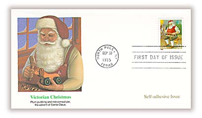 1995 32c Contemporary Christmas: Santa Building a Sled, booklet single