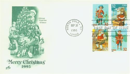 1995 32c Contemporary Christmas: Santa and Children, booklet
