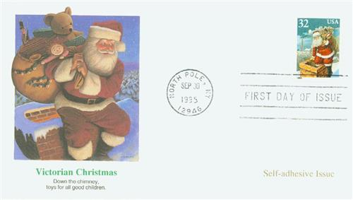 1995 32c Contemporary Christmas: Santa and Chimney, booklet single