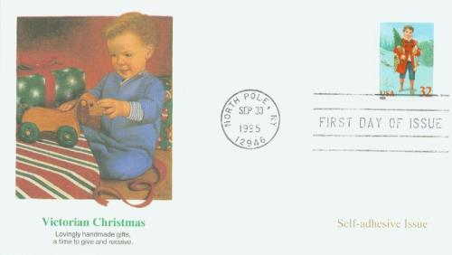 1995 32c Contemporary Christmas: Child with Tree, booklet single