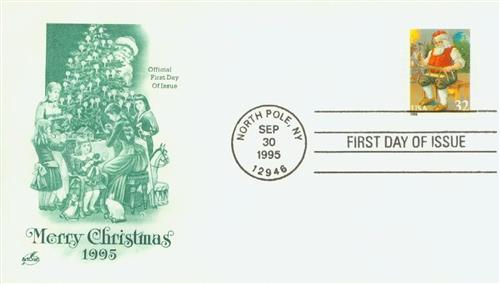 1995 32c Contemporary Christmas: Santa Building a Sled, coil