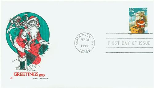 1995 32c Santa & Chimney, Self Adhesive Coil Single