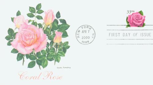 2000 33c Coral Pink Rose
