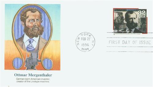 1996 32c Pioneers of Communication: Ottmar Mergenthaler for