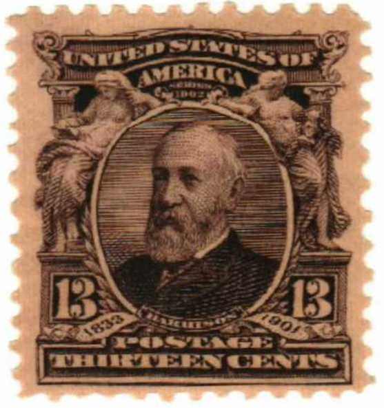 US #308 – The border of this stamp reflects Harrison's educational initiatives, showing muses reading and sculpting a child.
