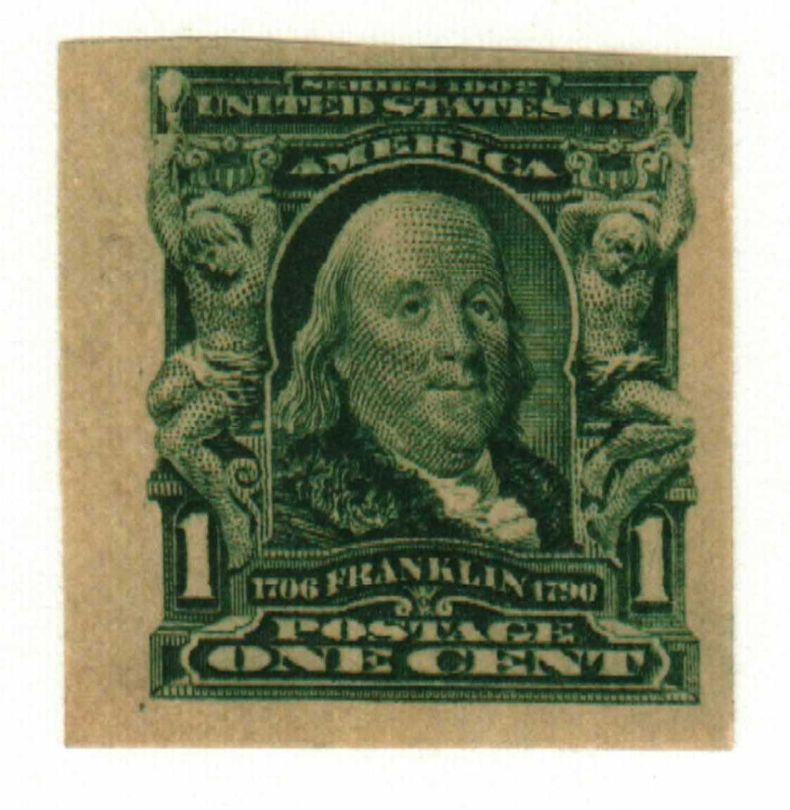 1906 1c Franklin, imperforate