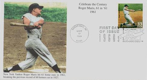 1999 33c Celebrate the Century - 1960s: Roger Maris Breaks 61 in '61