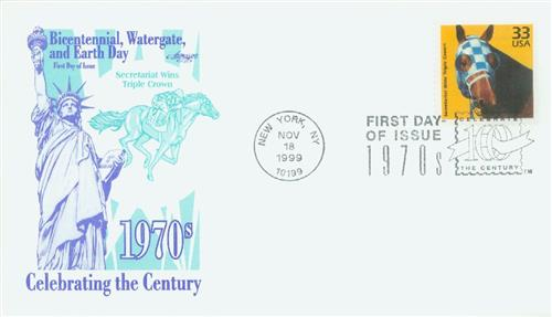1999 33c Celebrate the Century - 1970s: Secretariat Wind Triple Crown