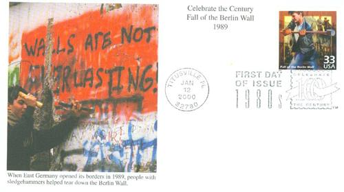 2000 33c Celebrate the Century - 1980s: Fall of the Berlin Wall