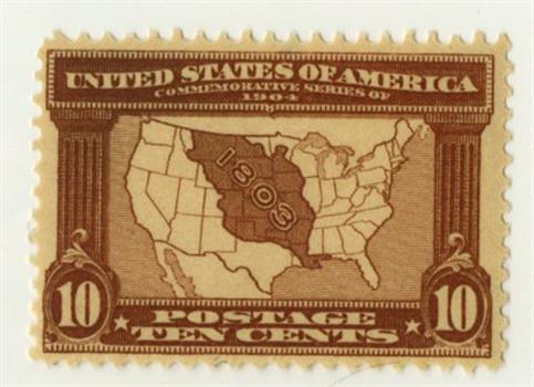 1904 10c Louisiana Commemorative: Map of the Louisiana Purchase