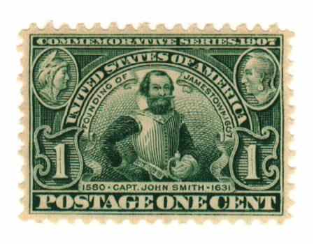1907 1c Jamestown Commemorative: Captain John Smith, green