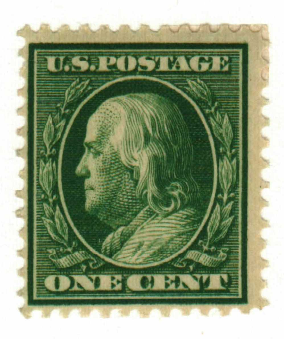 1908 1c Franklin Double Line Watermark For Sale At Mystic Stamp Company