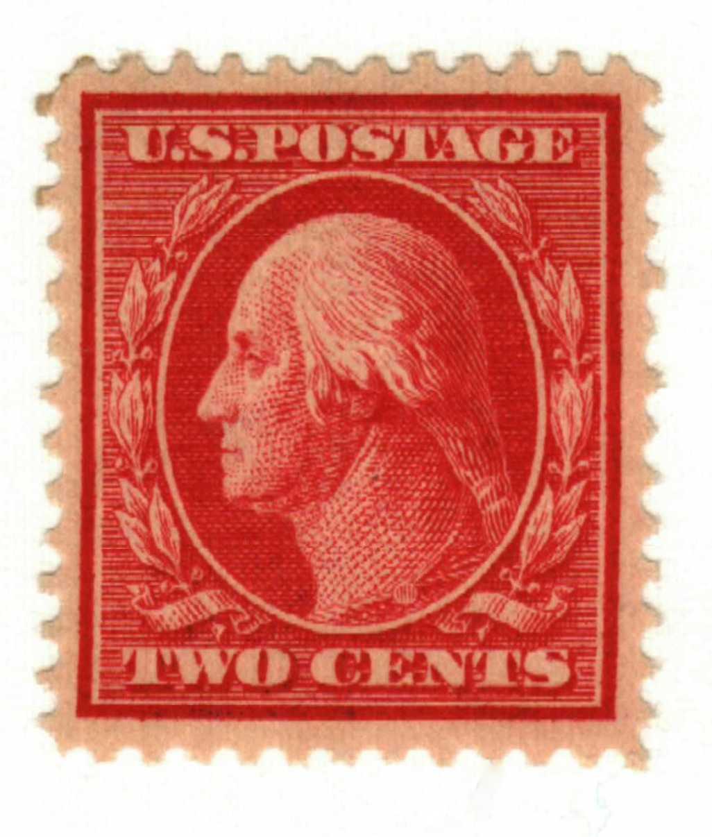 1908 2c Washington, double line watermark