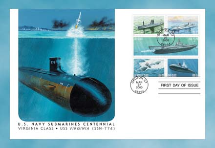 2000 22c-$3 20 U S  Navy Submarines for sale at Mystic Stamp