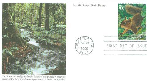 2000 33c Douglas squirrel, lichen, s/a