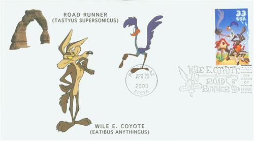 2000 33c Wile E. Coyote, s/a single