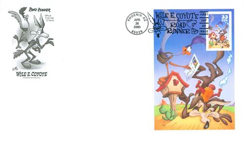 2000 33c Wile E. Coyote, s/a pane of 1