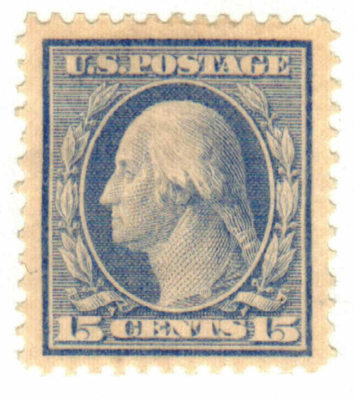 1909 15c Washington, double line watermark, perf 12