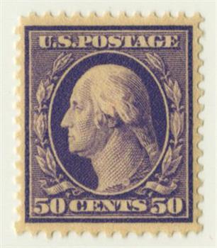 1909 50c Washington, violet, double line watermark