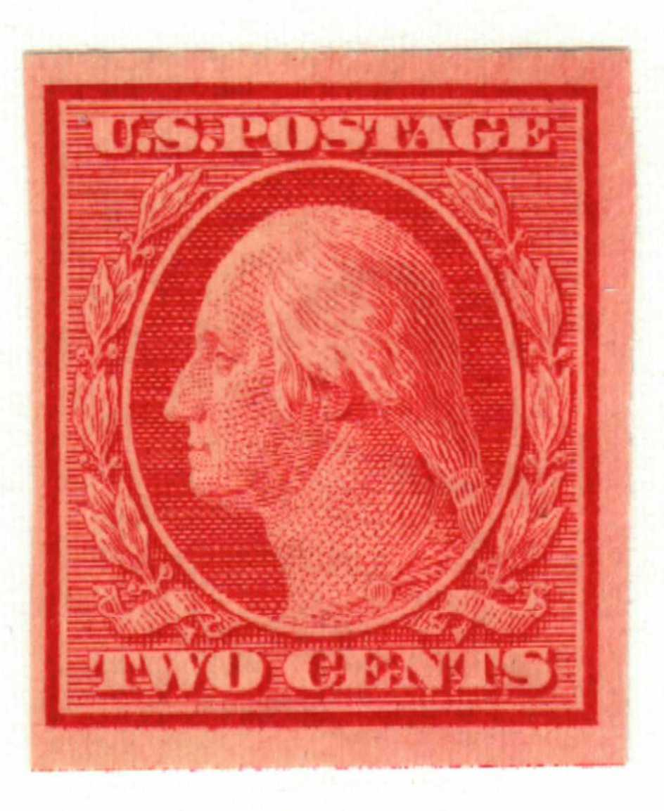1908 2c Washington, carmine, double line watermark, imperforate