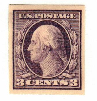 1909 3c Washington, deep violet, double line watermark, imperforate