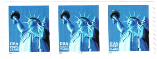 2000 34c Statue of Liberty, 10 vertical perf, coil